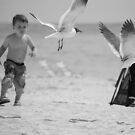 Boy chasing seagull by Amanda Huggins