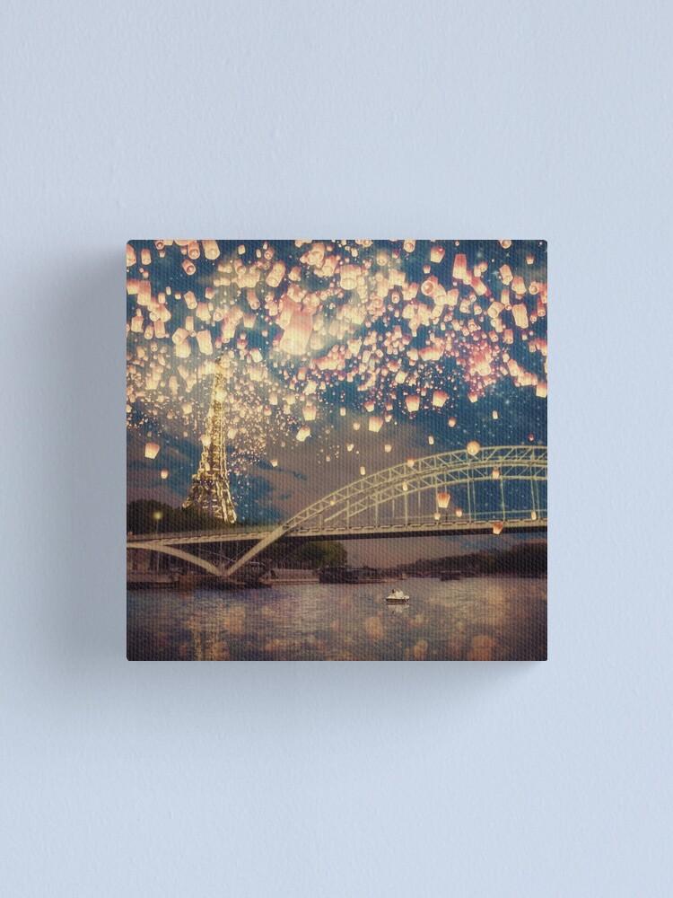 Alternate view of Love Wish Lanterns over Paris Canvas Print