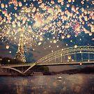 Love Wish Lanterns over Paris by Paula Belle Flores