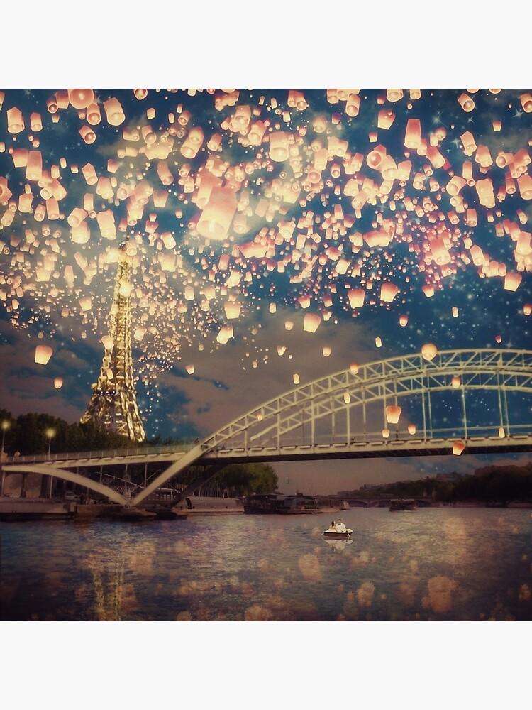 Love Wish Lanterns over Paris by BelleFlores