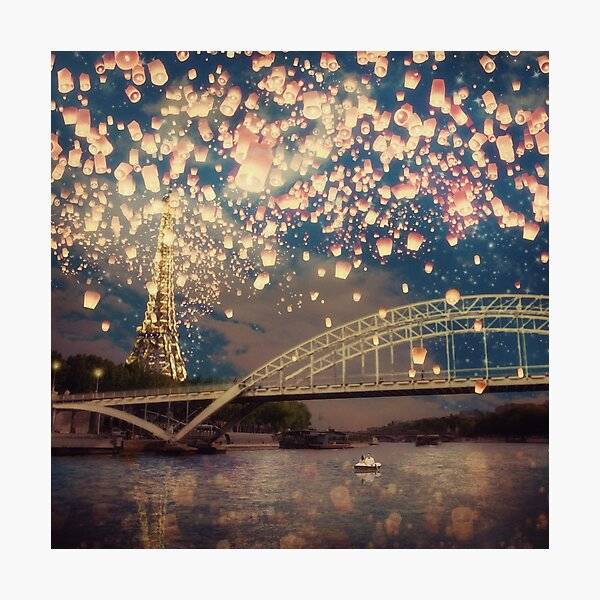 Love Wish Lanterns over Paris Photographic Print