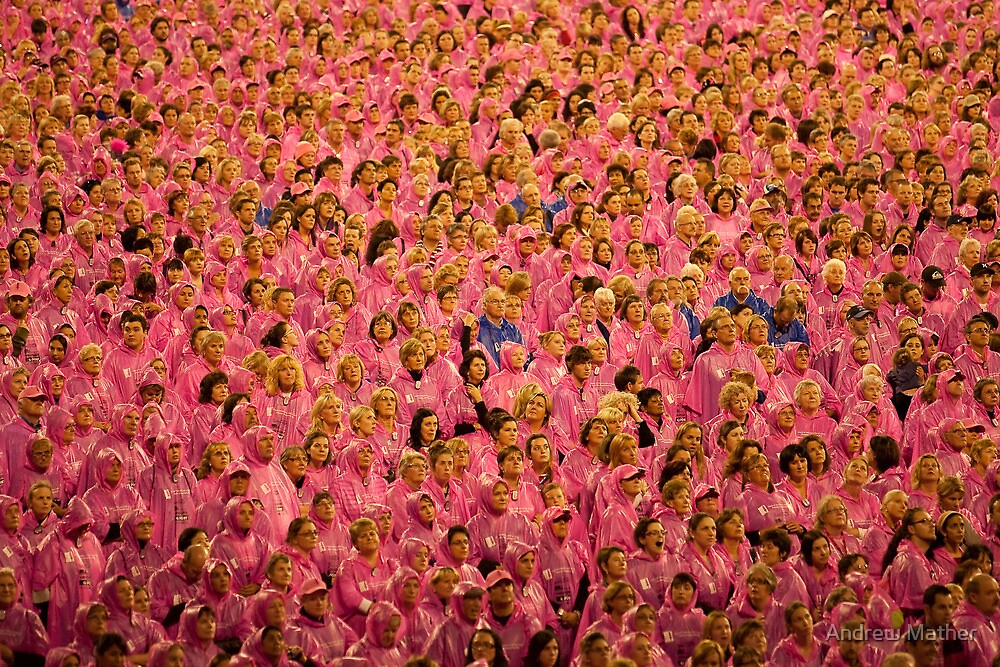 Faces in a sea of pink -  Field of Women 2010 by Andrew Mather