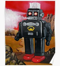 Smoking Robot on Mars Poster