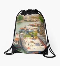Boats On The Seine Drawstring Bag