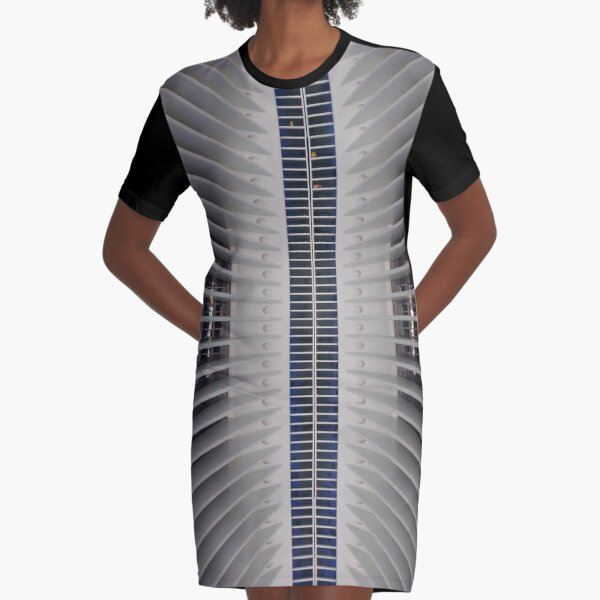 #steel #architecture #modern #futuristic pattern design aluminum industry abstract technology vertical colorimage NewYorkCity USA americanculture wide diminishingperspective Graphic T-Shirt Dress