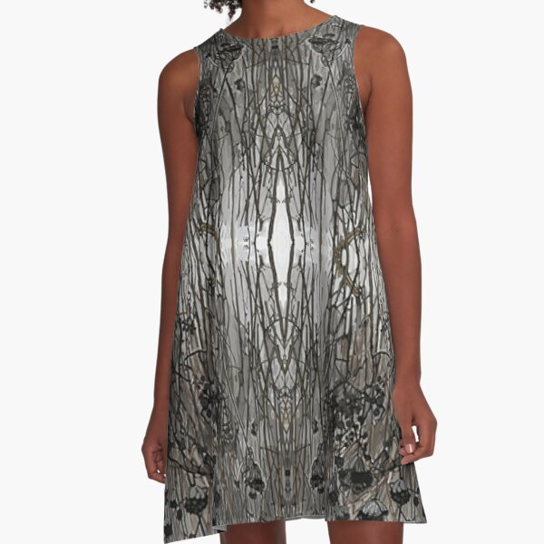 Pattern, grass, plant, nature, dry, winter, water, outdoors, tree, wood, pattern, cold, season A-Line Dress