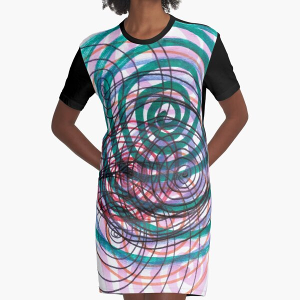 Spiral, pattern, abstract, creativity, shape, design, art, bright, decoration, futuristic, curve Graphic T-Shirt Dress