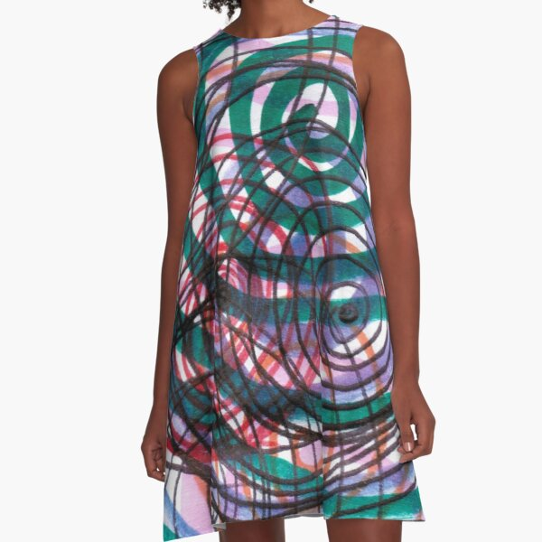 Spiral, pattern, abstract, creativity, shape, design, art, bright, decoration, futuristic, curve A-Line Dress