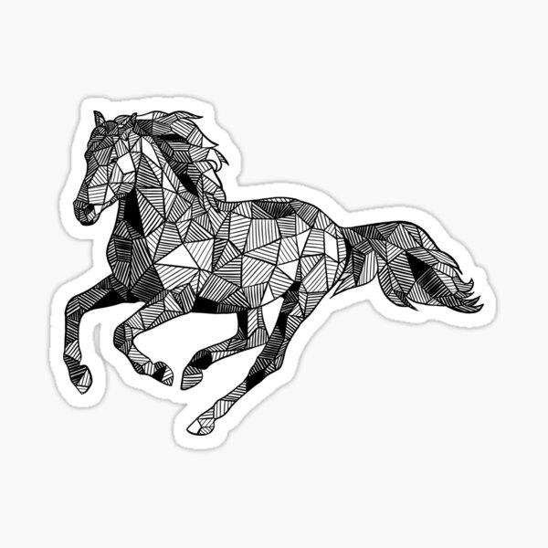 Running Horse Geometric Sketch Sticker