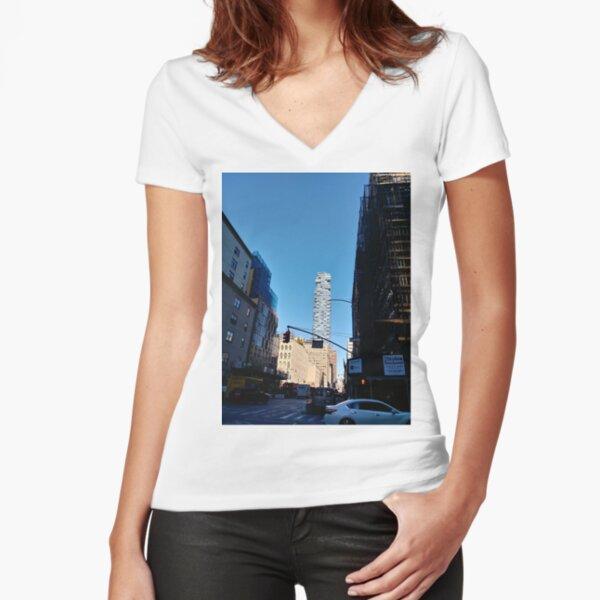 New York City, #Manhattan, New York, #downtown, #NeeYorkCity, #NeeYork, #buildings, #streets, #avenues, #skyscrapers, #cars, #pedestrians Fitted V-Neck T-Shirt