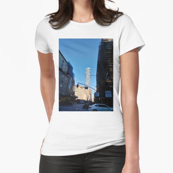 New York City, #Manhattan, New York, #downtown, #NeeYorkCity, #NeeYork, #buildings, #streets, #avenues, #skyscrapers, #cars, #pedestrians Fitted T-Shirt