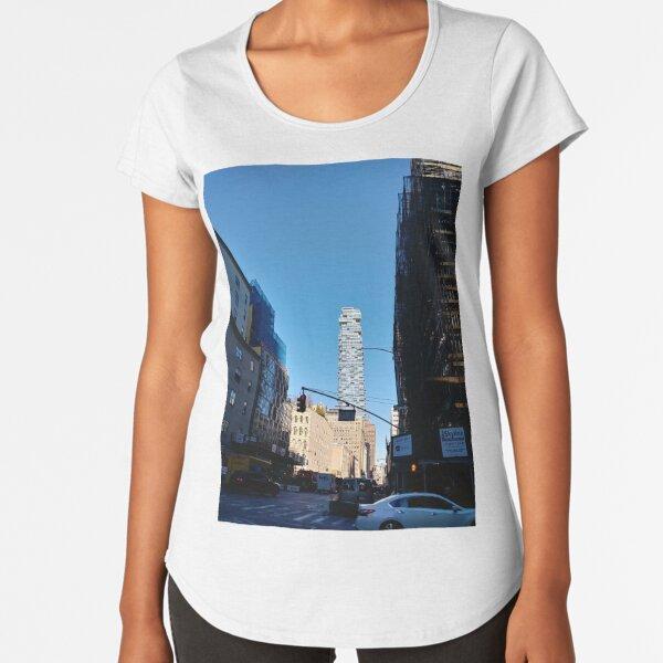 New York City, #Manhattan, New York, #downtown, #NeeYorkCity, #NeeYork, #buildings, #streets, #avenues, #skyscrapers, #cars, #pedestrians Premium Scoop T-Shirt