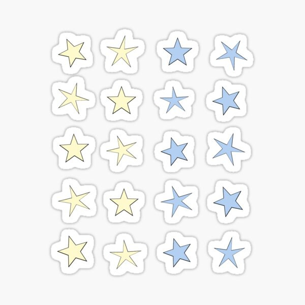 mini star set- yellow and blue Sticker