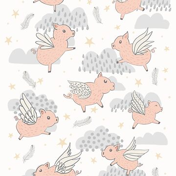 When Pigs Fly on White by latheandquill