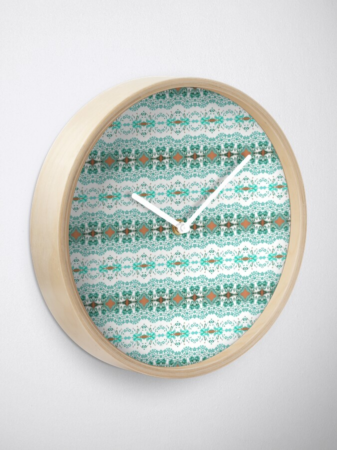 Alternate view of textile, pattern, abstract, decoration, design, illustration, repetition, art, wool, fashion Clock