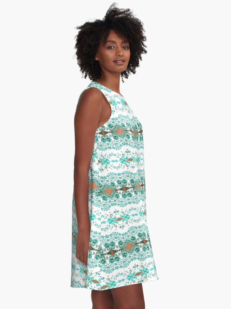 Alternate view of textile, pattern, abstract, decoration, design, illustration, repetition, art, wool, fashion A-Line Dress