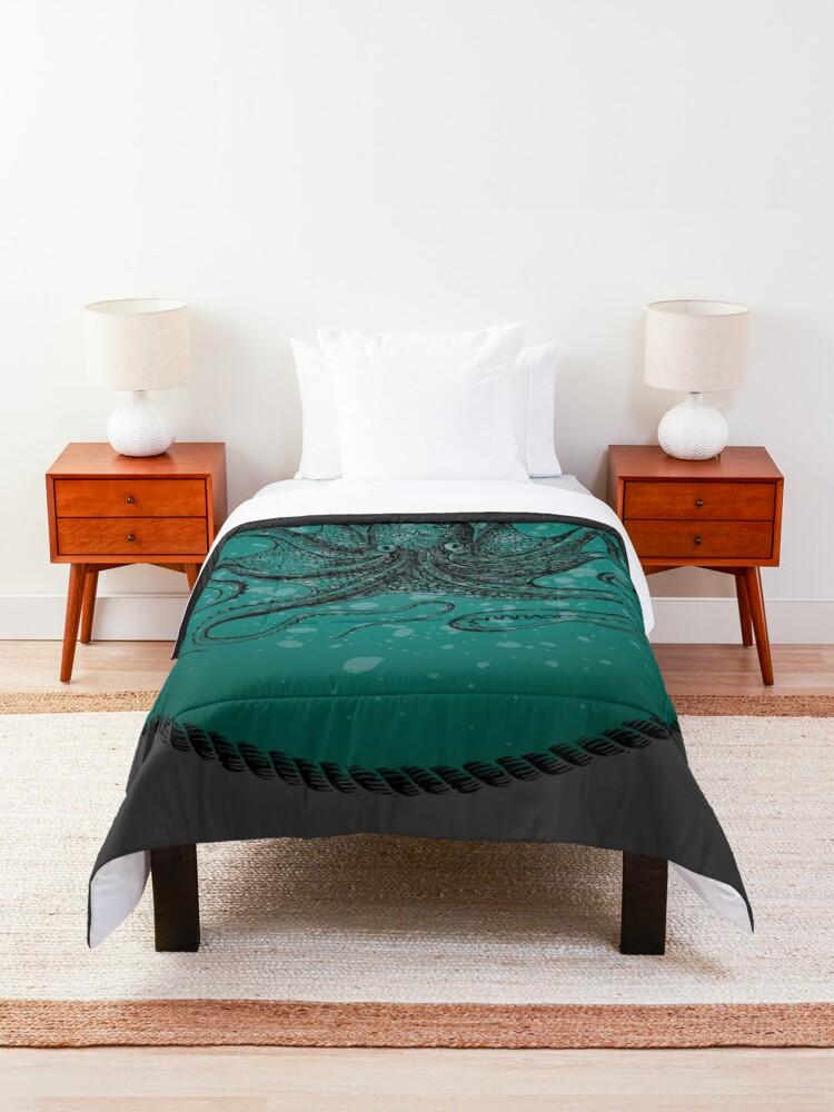 Alternate view of Octopus in Teal Waters Comforter