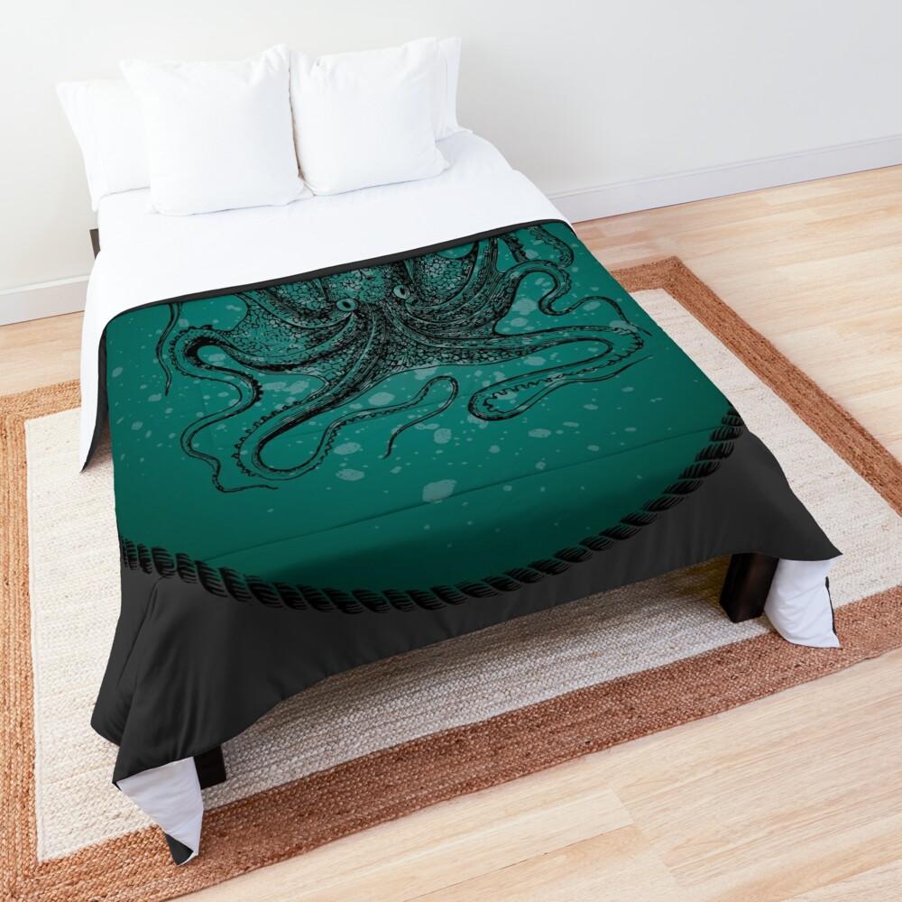 Octopus in Teal Waters Comforter