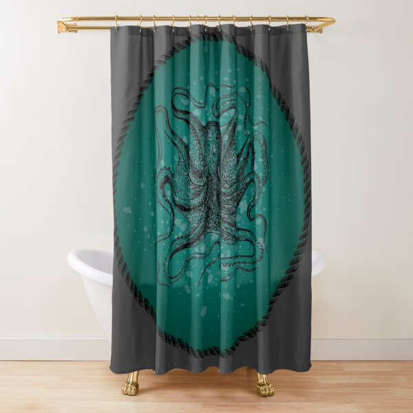 Octopus in Teal Waters Shower Curtain