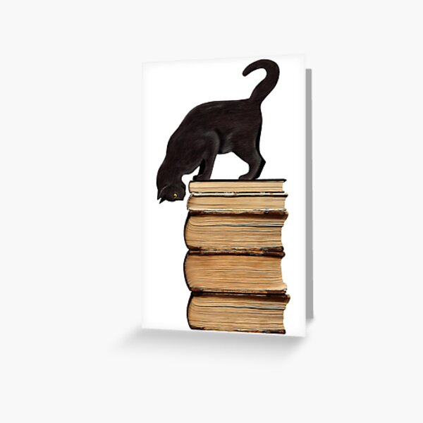 Curious Black Cat on Old Books Greeting Card