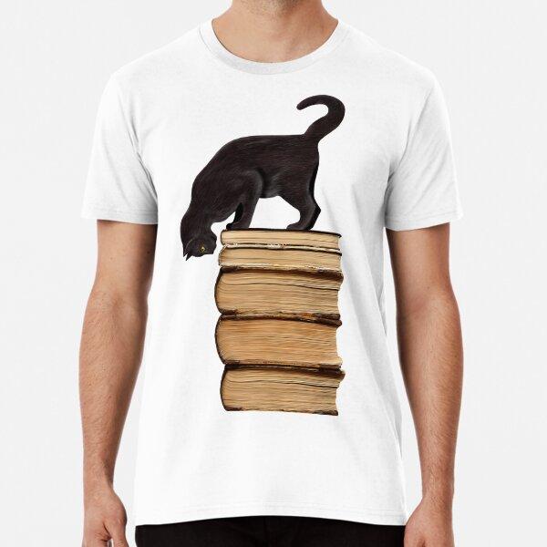 Curious Black Cat on Old Books Premium T-Shirt