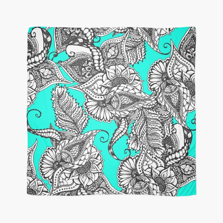 Boho black white hand drawn floral doodles pattern turquoise ...