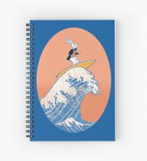 White Rabbit Surfing Spiral Notebook