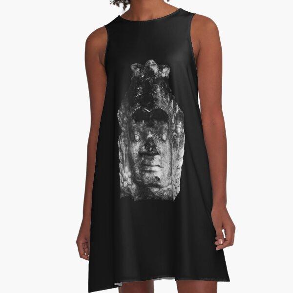 Angkor Wat Buddha Head A-Line Dress