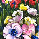 Ranunculus flowers, tulips and green leaves by stasia-ch