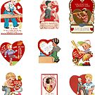 Vintage Valentines Sticker Pack for Boys by CafePretzel