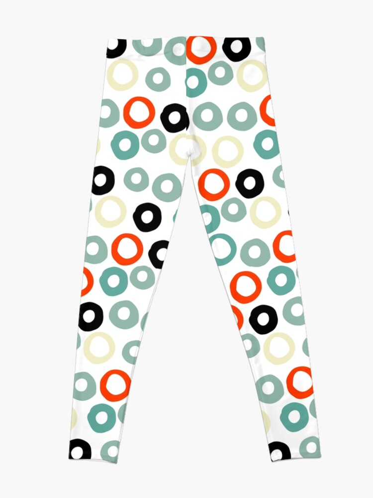 Alternate view of Hand painted pastel red green ivory watercolor polka dots Leggings