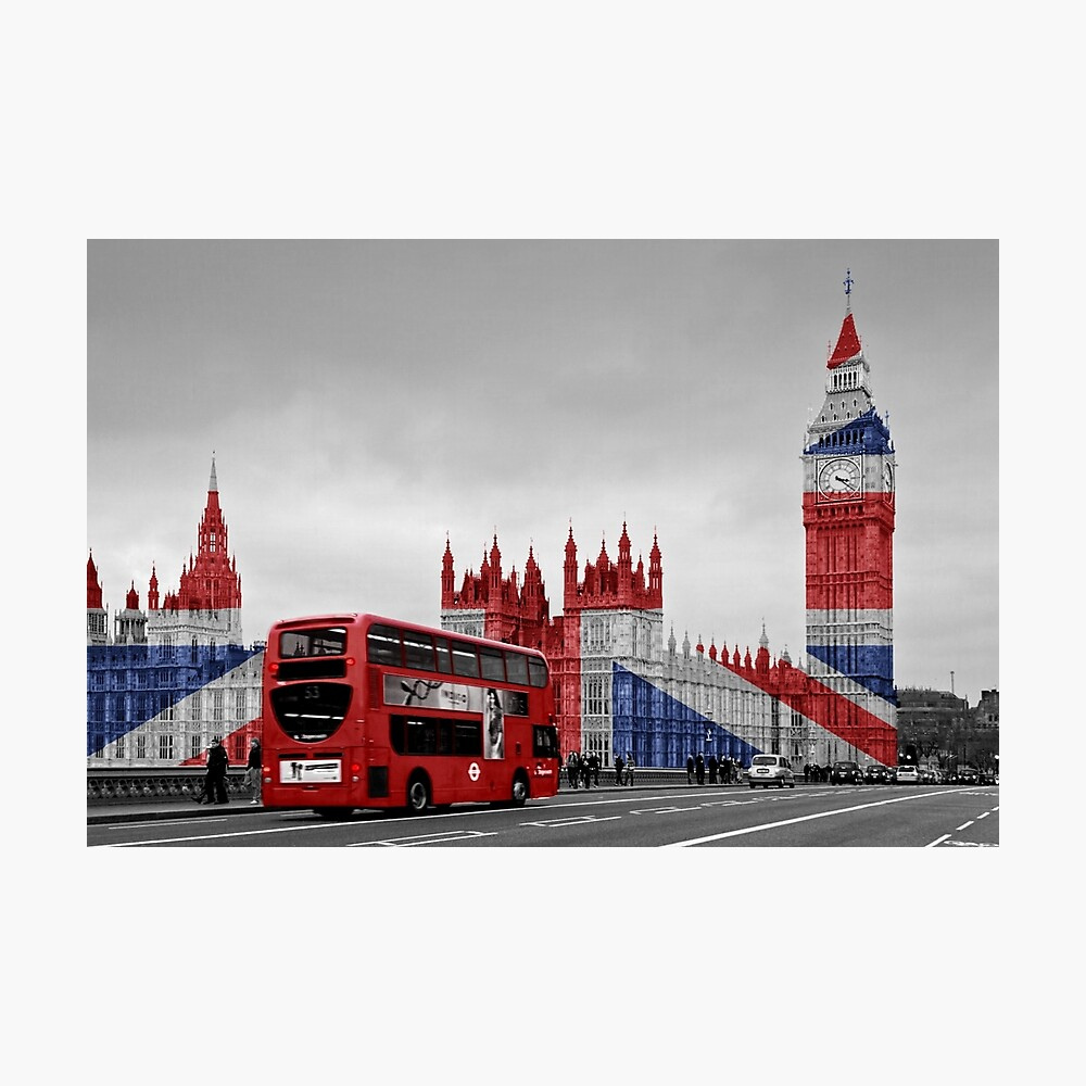 Big Ben and Union Jack Photographic Print
