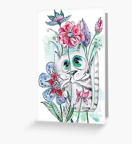 Funny Watercolor Cat with Flowers Greeting Card