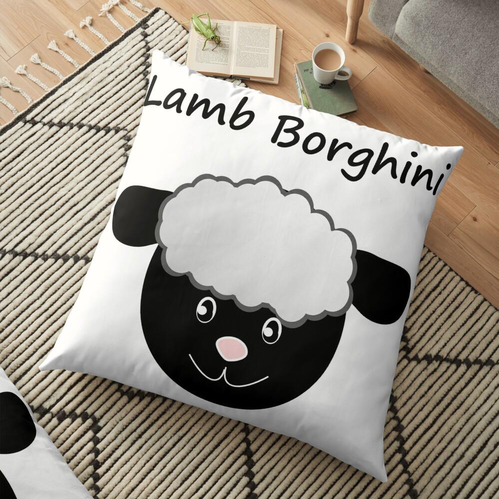 Lamb Borghini funny Sheep Pun Floor Pillow