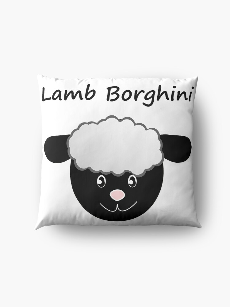 Alternate view of Lamb Borghini funny Sheep Pun Floor Pillow