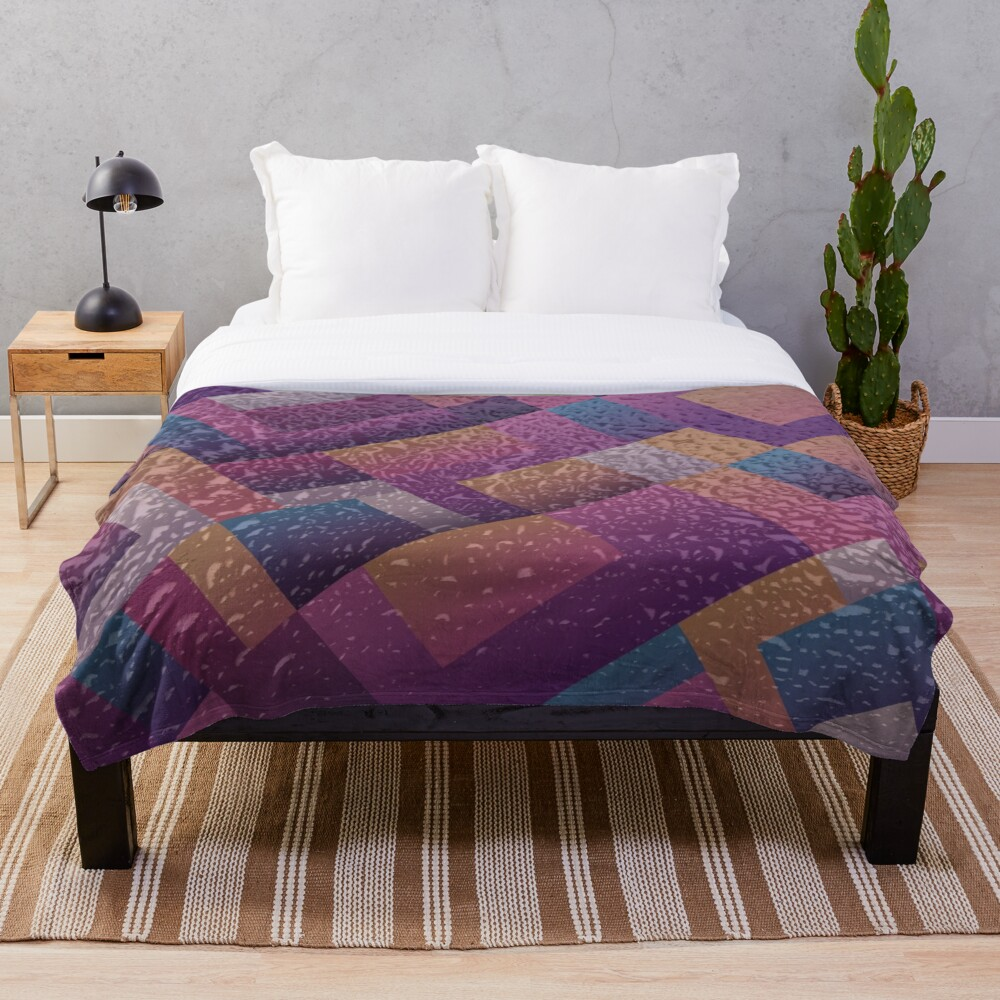 Gold Purple Blue Metallic Color Block Throw Blanket