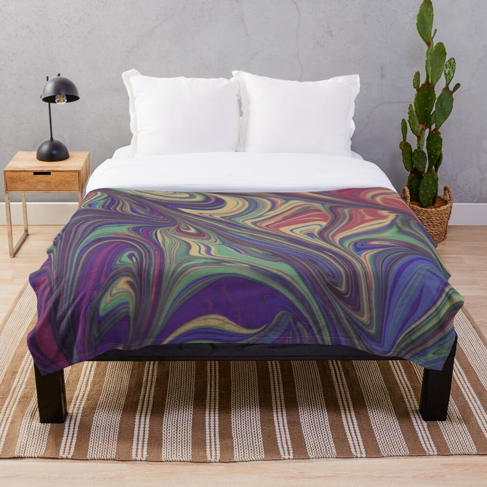 Psychedelic Liquid Pour Colorful Print Throw Blanket