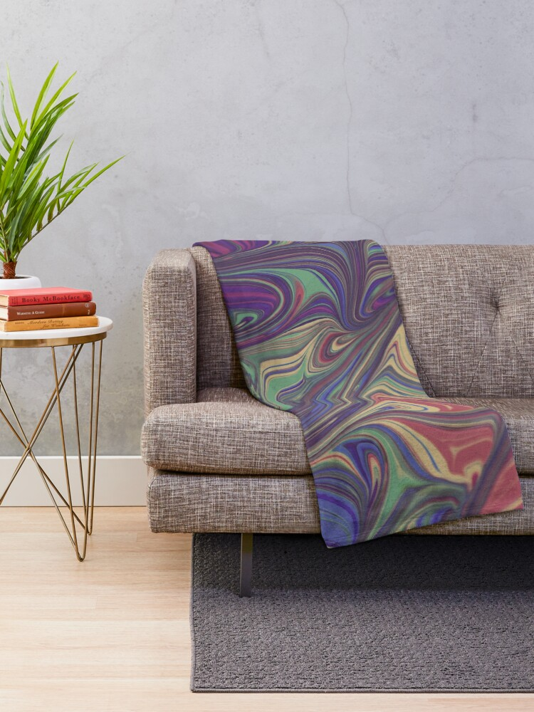 Alternate view of Psychedelic Liquid Pour Colorful Print Throw Blanket