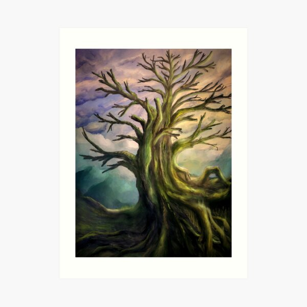 Painting of a colorful scenery with an old big tree Art Print