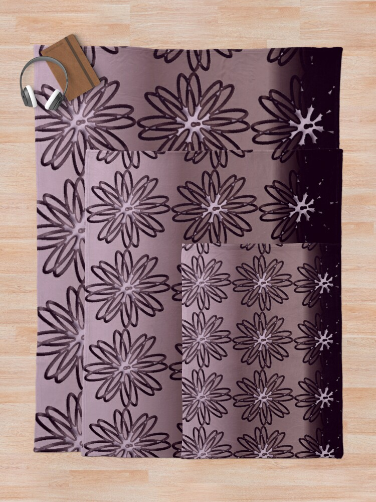 Alternate view of Glam Flowers Metallic Girly Artwork Throw Blanket