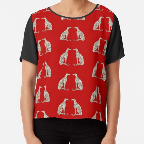 Double Greyhounds - Bold Red Chiffon Top