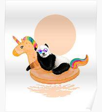 Chillin, Unicorn Panda Poster