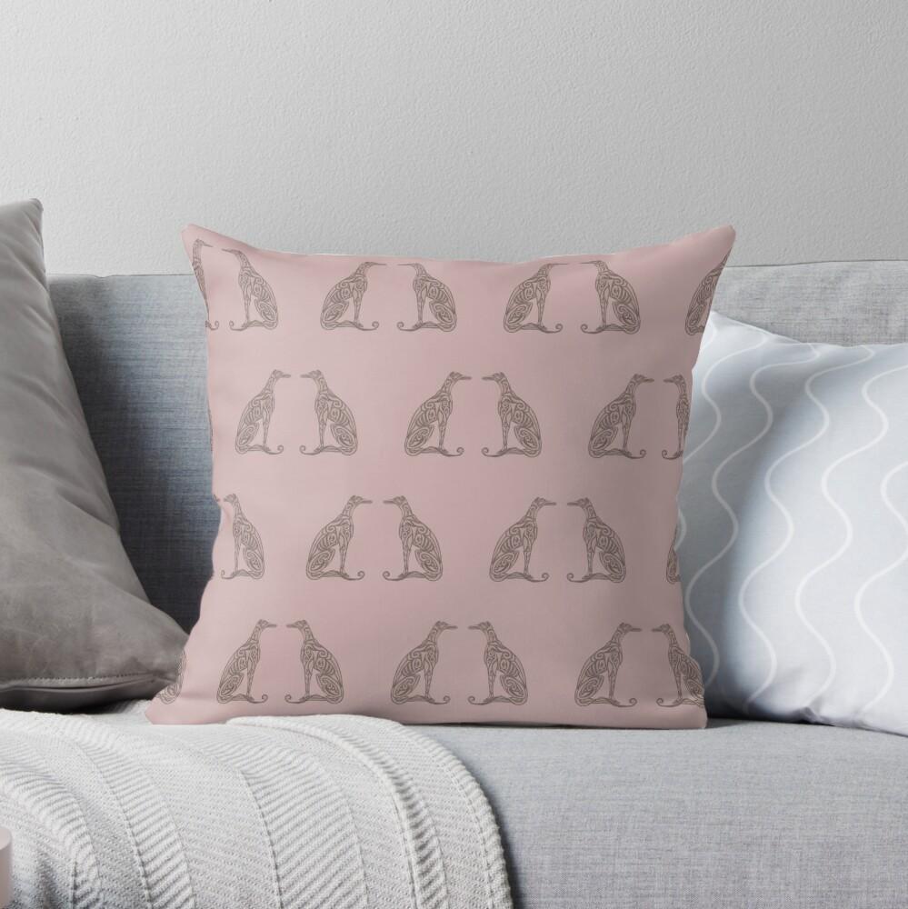 Double Greyhounds - Old Rose Throw Pillow