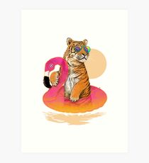 Chillin, Flamingo-Tiger Kunstdruck
