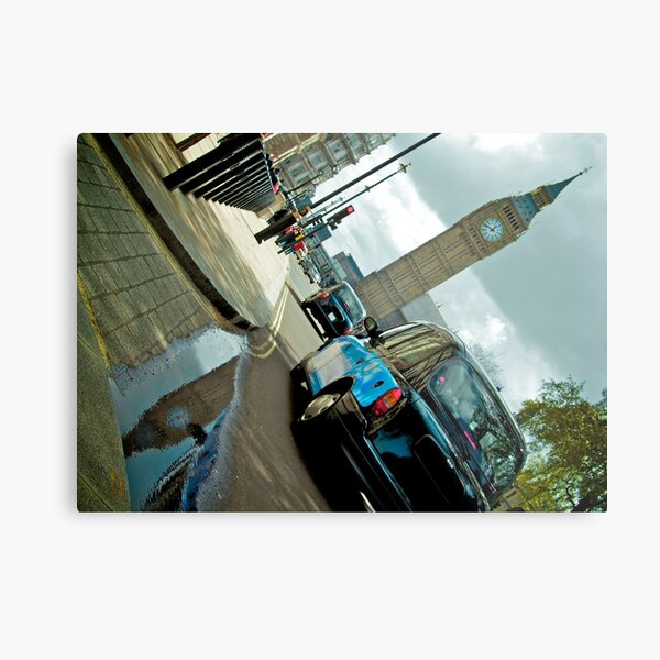 Big Ben in Puddle with Black Cab Metal Print