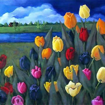 Dutch Tulips, Flowers, Original Floral Painting, Holland, Windmill by Joyce