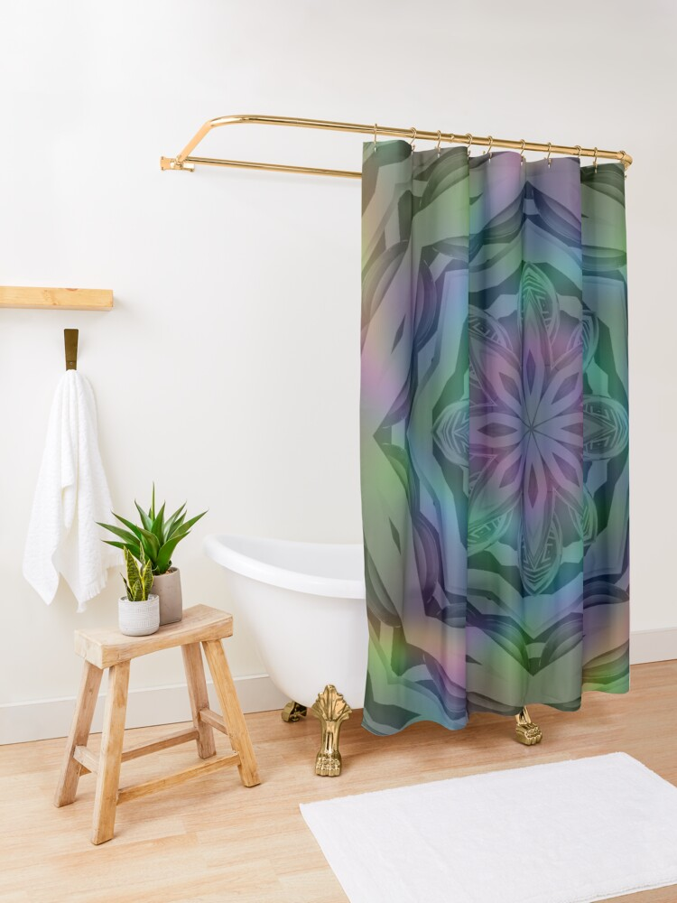 Alternate view of Mandala Metallic Holographic Psychedelic  Shower Curtain