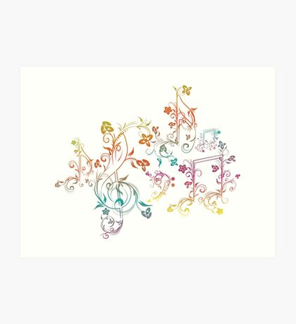 Blumenmusiknoten 2 Kunstdruck