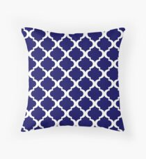 Navy Blue & White Moroccan Style  Throw Pillow