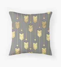 Gray and Faux Gold Arrows Pattern Throw Pillow